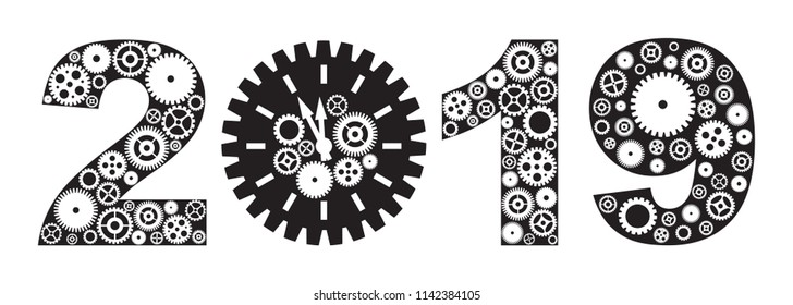 Happy New Year 2019 with Mechanical Gears and Clock Black and White vector Illustration