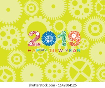 Happy New Year 2019 with Mechanical Gears and Clock Pattern Green Background vector  Illustration