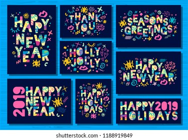 Happy New Year 2019, Merry Christmas greeting cards, banners, brochure, flyer, party, holiday invitation, corporate celebration. Colorful hand drawn vector illustration