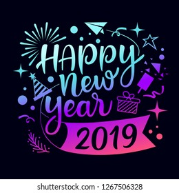 Happy new year 2019 message with icons purple and blue design background, vector illustration