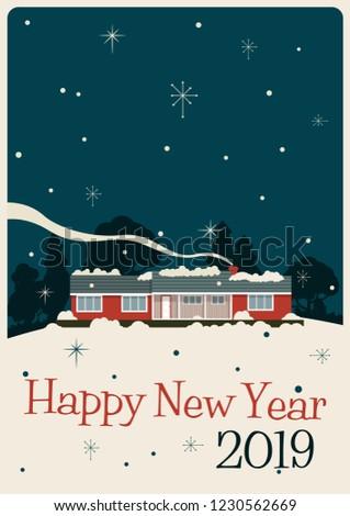 happy new year 2019 mid century modern greeting card stylization
