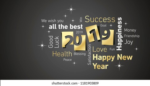 Happy New Year 2019 negative space word cloud gold white black vector