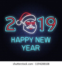 Happy New Year 2019 neon sign with santa claus. Vector. For New 2019 Year Design, template, greeting card, flyer, poster, website. Neon sign with santa claus for banner, romotion or advertisement.