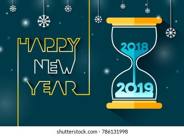 Happy New year 2019, Number inside the hourglass designed on dark blue with snowflake background.