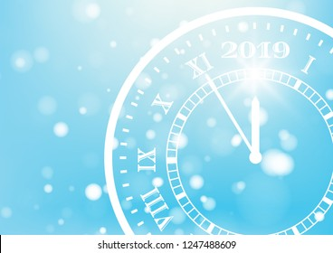 Happy New Year 2019 on blue background for celebration, party, and new year event. Count down time five minutes to midnight. Vector illustration