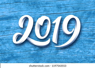 Happy New Year 2019. Paper 3D calligraphic number on blue wood background. Vector greeting card design template for winter holidays