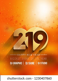 Happy New Year 2019 Party Flyer & Poster Design, Vector illustration.
