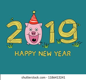 Happy New Year 2019, Year of pig.