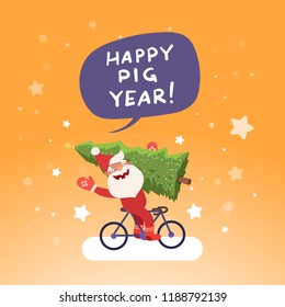 Happy new year 2019 - happy pig year concept. Cute Santa Claus on bicycle with Christmas tree. Vector illustration, template for Christmas cards