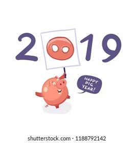 Happy new year 2019 - happy pig year concept. Vector illustration, template for Christmas cards