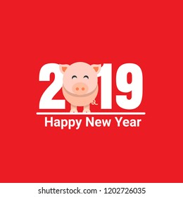 Happy New Year 2019 pig chines new year