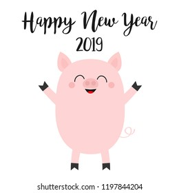 Happy New Year 2019. Pink pig. Piggy piglet. Chinise symbol. Cute cartoon funny kawaii smiling baby character. Flat design. White background. Isolated. Vector illustration