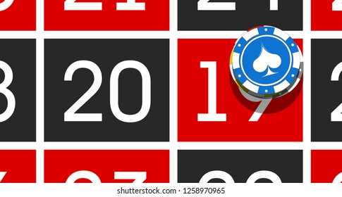 Happy New Year 2019 poker chips background. Greeting card Roulette Game & chips flyer. cloth casino of date 2018 year view from above banner. Celebrate poker casino brochure