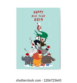 Happy new year 2019 postcard vector