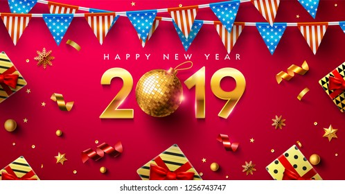 Happy New year 2019 Poster or banner with gift box,golden ribbon and confetti.Promotion or shopping template for Happy New year 2019 in golden and red style.Vector EPS10