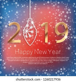 Happy New Year 2019 Poster with Golden Greeting Text and White Snowflakes. Vector Illustration.