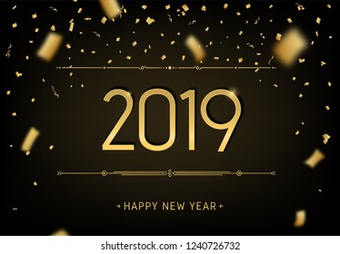 Happy New Year 2019 premium design. Greeting card template 2019 with golden glitter confetti. Vector black party illustration of date 2019 year. Celebrate brochure, flyer, banner, calendar, background