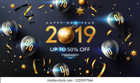 Happy New year 2019 Promotion Poster or banner with black balloons, golden ribbon and confetti.Promotion or shopping template for Christmas in golden and black style.Vector EPS10