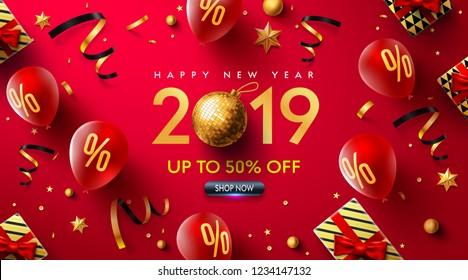 Alles Gute Neues Jahr 2019 Werbeplakat oder Banner mit roten Ballons, Geschenkbox, goldenem Band und Konfetti.Werbegeschenk oder Shopping-Vorlage für Weihnachten in goldenem und rotem Stil.Vector EPS10