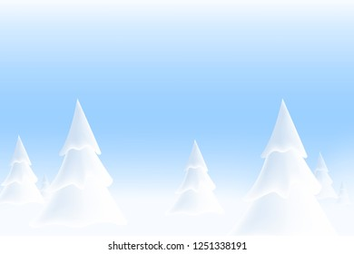 Happy New Year 2019. Realistic snowdrift. Snow background. Winter snowy landscape with christmas trees. Vector illustration with snow drift.