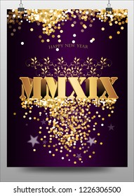 Happy New Year 2019 with Roman numerals. Winter holidays greeting card design template. Golden bright party, banner or invitation poster stars. Purple background