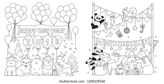 Happy New Year 2019 set, cute animals in the party for printed tee,cards, invitation and coloring book page for kids. Vector illustration