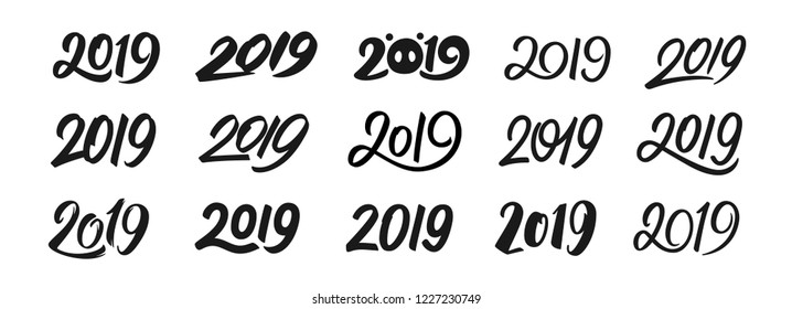 Happy New Year 2019. Set of calligraphy numbers for Chinese Year of the Pig. Text design patterns collection isolated on white background. Vector illustration.
