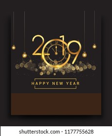 Happy New Year 2019 - New Year Shining background with gold clock