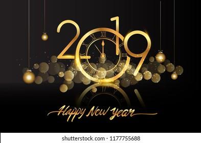 happy new year 2019 new year shining background with gold clock and glitter