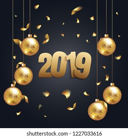 Happy New Year 2019 - New Year Shining background with gold christmass ball and glitter confetti. Vector winter holiday greeting card design template celebration party. Vecor illustration
