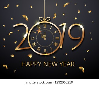 Happy New Year 2019 - New Year Shining luxury premium background with gold clock and  glitter confetti decoration. Time twelve o'clock. Vector winter holiday greeting card design template celebration