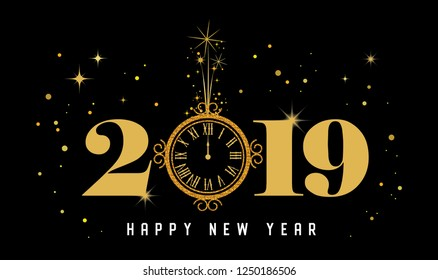Happy New Year 2019 - New Year Shining background with gold clock and glitter. vector illustration