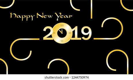happy new year 2019 shiny golden text new year clock on text happy new