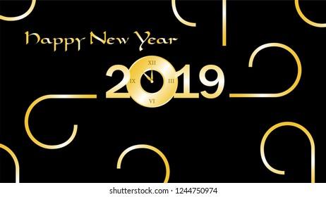 happy new year 2019 shiny golden text new year clock on text happy new