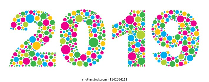Happy New Year 2019 Silhouette with Colorful Polka Dots vector Illustration Isolated on White Background