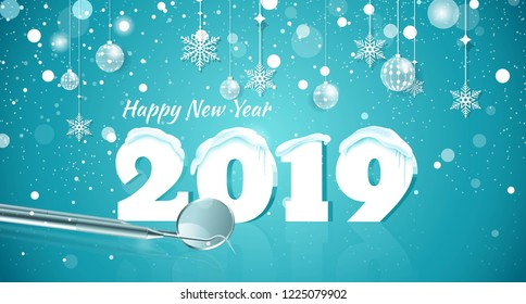Happy new year 2019 snowy background. Happy holidays medical banner with snowflakes and dental instruments on blue sparkling background.  Vector illustration.
