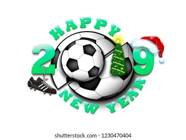 Happy New Year 2018 Soccer Ball Stock Vector Royalty Free