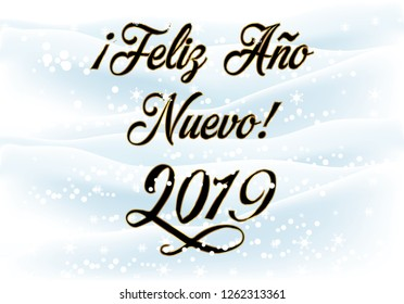 Happy New Year 2019 in Spanish Greeting Card. vector illustration