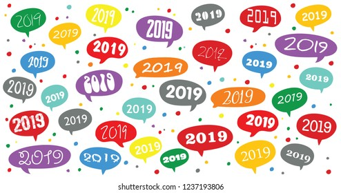 Happy New Year 2019, speech bubble. Vector eps December, January, school numbers number transparent celebration xmas Merry Christmas cloud chat Social Media network icons icon talk Whatsapp world day