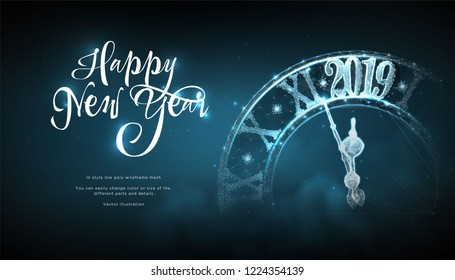 Happy  New Year 2019. Сlock in style Low poly wireframe art on blue background. Concept for holiday or magic or miracle. Effect Starry sky. Polygonal illustration with connected dots and lines. Vector