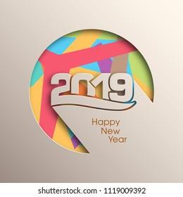 Happy new year 2019 Text Design vector.