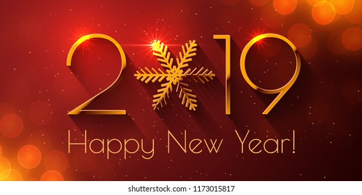 happy new year 2019 text design vector greeting illustration with golden numbers and snowflake