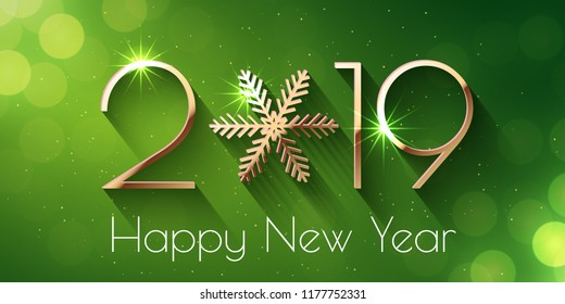 Happy New Year 2019 text design. Vector greeting illustration with golden numbers and snowflake