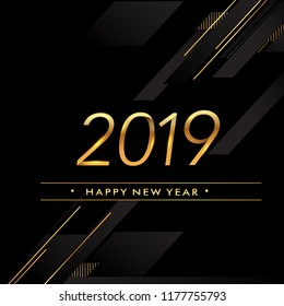 Happy New Year 2019 text design gold colored isolated on black background, vector elements for calendar and greeting card.