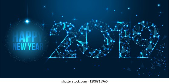 Happy new year 2019 text design vector. Geometric polygonal 2019 new year greeting card. Low polygon.