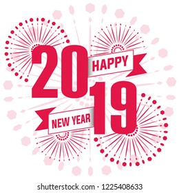 Happy New Year 2019 text design. Vector greeting illustration.
