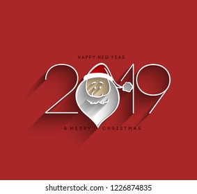 Happy New Year 2019 Text with Santa Design Patter, Vector illustration