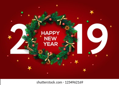 Happy New Year 2019 text design. Vector greeting illustration with and Christmas wreath on red background.