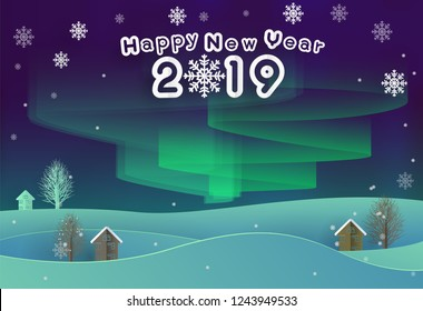 Happy New Year 2019 Text on Home and Tree and snow in Green Aurora light in paper cut style