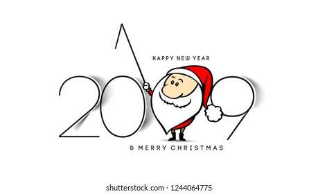 Happy New Year 2019 Text or Santa with Stick Design Patter, Vector illustration
